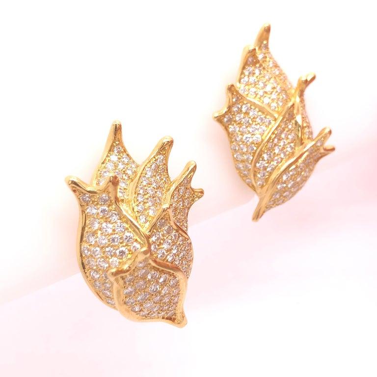 Modern Angela Cummings Yellow Gold and Diamond Earrings