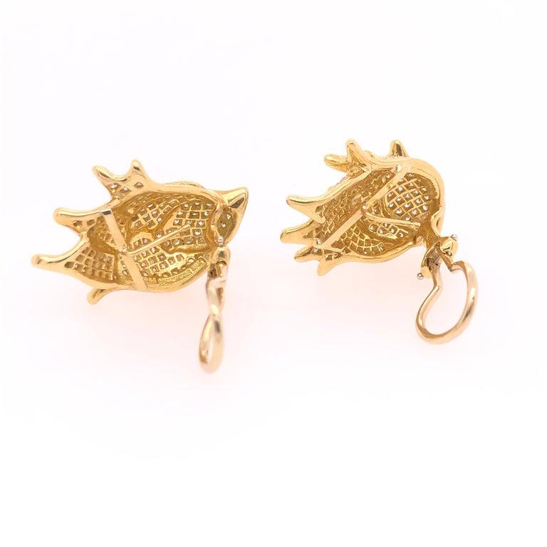 Round Cut Angela Cummings Yellow Gold and Diamond Earrings