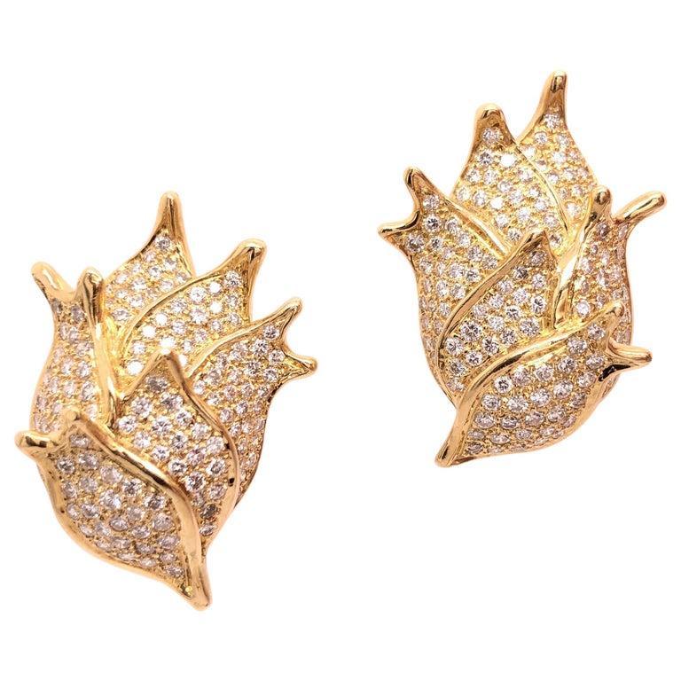 Angela Cummings Yellow Gold and Diamond Earrings