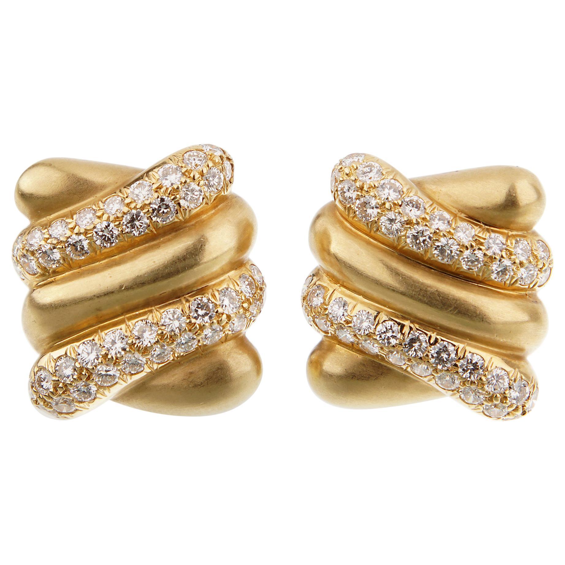 Angela Cummings Yellow Gold Diamond Vintage Earrings