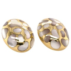 Angela Cummings Yellow Gold Mother of Pearl Inlay Earrings