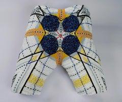 """Pantaloncini: Work No. 012 (Emma)"" sculpture with pins"