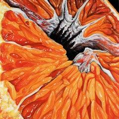 Orange VI - Abstract citrus fruit oil painting Contemporary Realism art orange