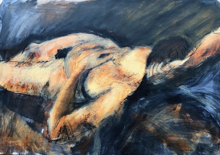 Angela Lyle Nude - Asleep. Contemporary Mixed Media on paper