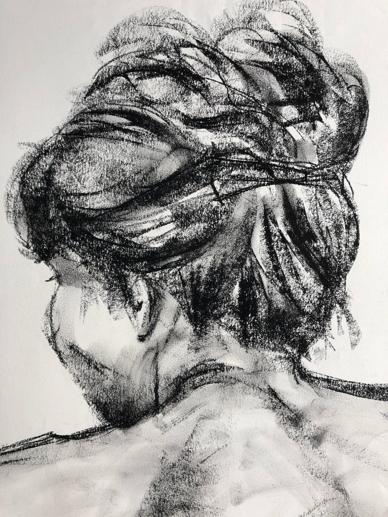 Christine With Her Hair Up. charcoal on paper - Contemporary Art by Angela Lyle