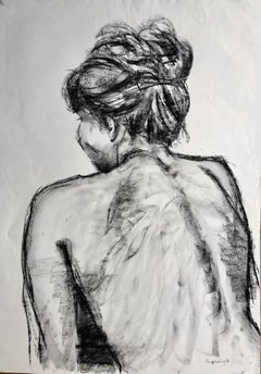 Christine With Her Hair Up. charcoal on paper