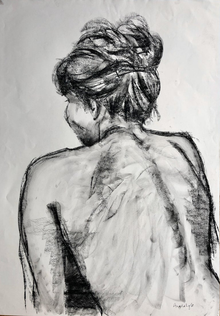 Angela Lyle Nude - Christine With Her Hair Up. charcoal on paper