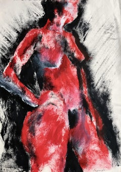 Lady In Red. Contemporary Mixed Media on paper