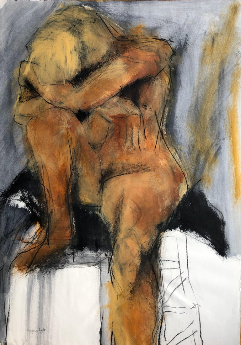 Angela Lyle Nude - Resting Blonde. Contemporary Mixed Media on paper
