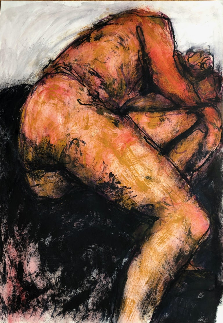 Angela Lyle Nude - Sleeping Man. Contemporary Mixed Media on paper
