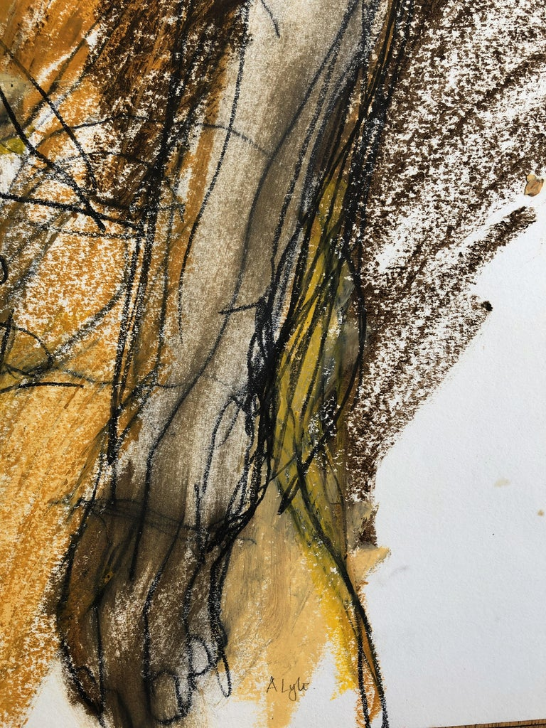 Turning. Contemporary Mixed Media on paper - Beige Nude Painting by Angela Lyle