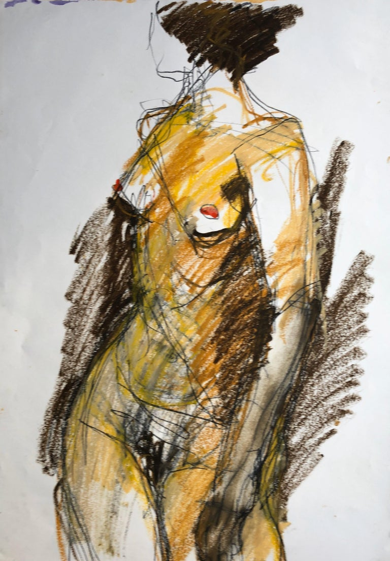 Angela Lyle Nude Painting - Turning. Contemporary Mixed Media on paper