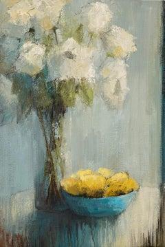 Joyful Light and Lemons, Impressionist Floral Oil on Canvas Painting