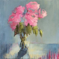 Party Pinks, Large Impressionist Floral Oil on Canvas Painting
