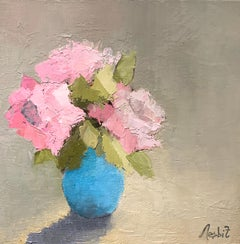'Pink Study' by Angela Nebsit framed petite impressionist floral oil painting