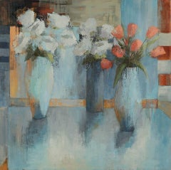Ray of Light, Large Square Impressionist Oil on Canvas Floral Painting