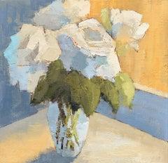 'Sunlit Whites' by Angela Nebsit framed petite impressionist floral oil painting