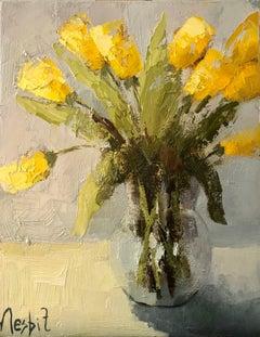 Tulip Expression, Angela Nesbit Framed Vertical Impressionist Floral Still-Life