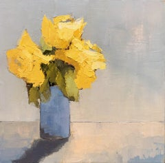 'Yellow Brights Study' by Angela Nebsit framed impressionist floral oil painting