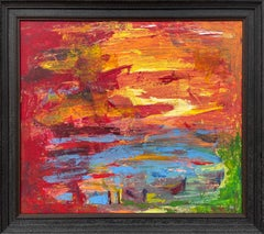 Abstract Blue Orange & Red Lake Sunset Landscape by Contemporary British Artist