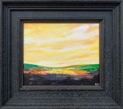 Abstract Landscape Painting with Green & Yellow from British Contemporary Artist