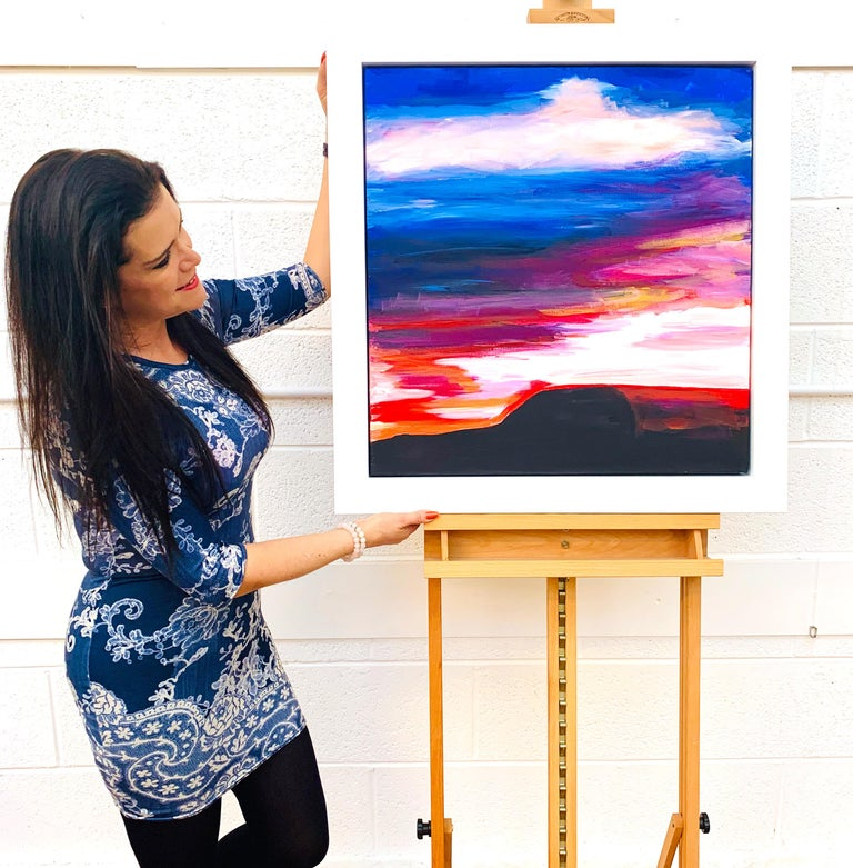 Colourful Abstract Landscape & Sky Painting with Reds, Purples & Blues of Pendle Hill in the Northern English Countryside by leading British Urban Artist Angela Wakefield.  This artwork is from an intense body of abstract work that formed the very