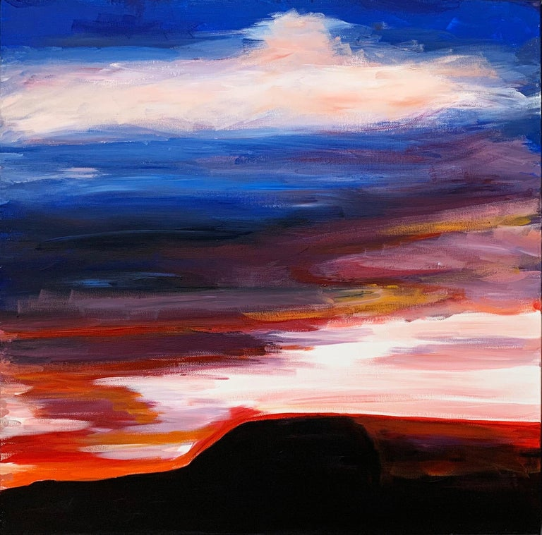 Abstract Landscape Sky Painting of English Countryside by British Urban Artist For Sale 4