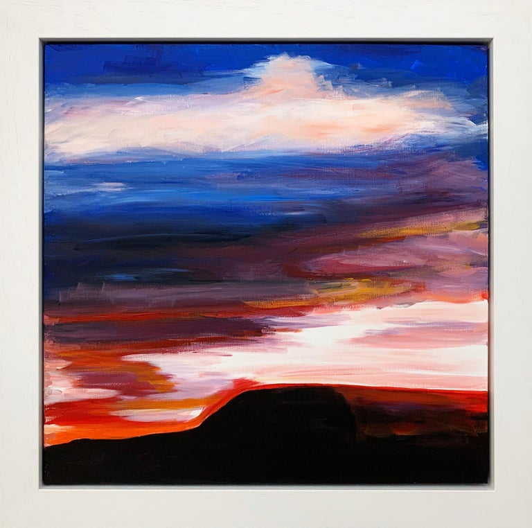 Angela Wakefield Landscape Painting - Abstract Landscape Sky Painting of English Countryside by British Urban Artist
