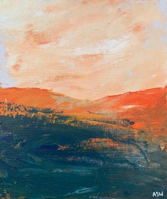 Abstract Orange & Black Mountain Landscape Study by Contemporary British Artist