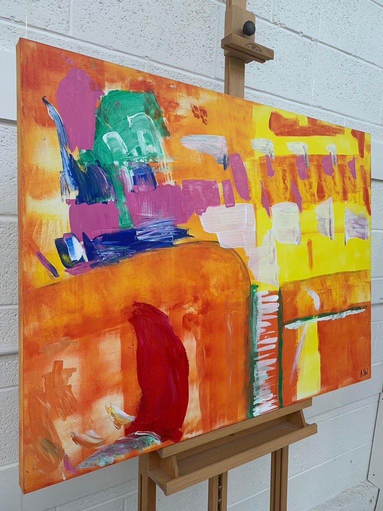 Abstract Painting with Yellow Orange Red & Pink by Contemporary British Artist For Sale 1