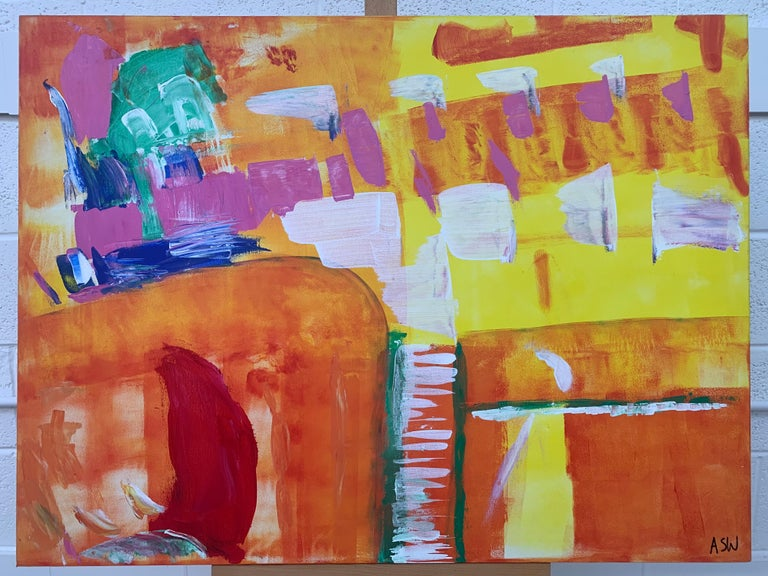 Abstract Painting with Yellow Orange Red & Pink by Contemporary British Artist For Sale 2