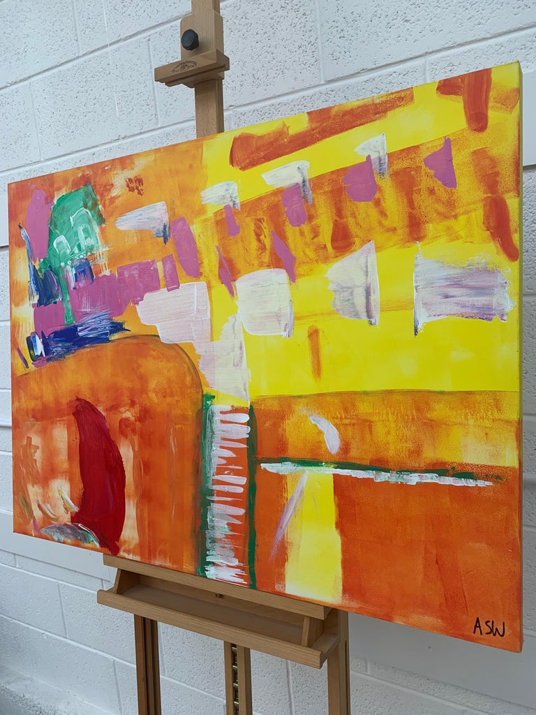 Abstract Painting with Yellow Orange Red & Pink by Contemporary British Artist For Sale 3