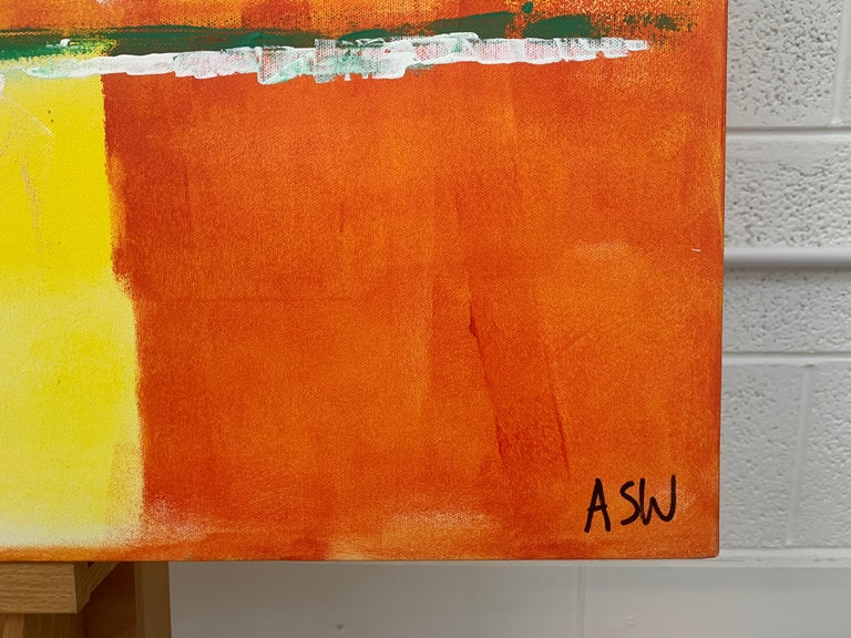 Abstract Painting with Yellow Orange Red & Pink by Contemporary British Artist For Sale 4