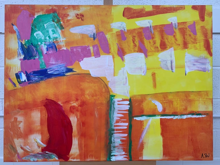 Abstract Painting with Yellow Orange Red & Pink by Contemporary British Artist For Sale 6