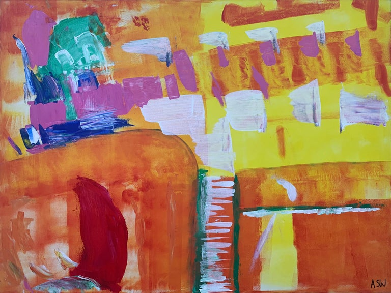 Abstract Painting with Yellow Orange Red & Pink by Contemporary British Artist, Angela Wakefield. This is the one of the earliest works from her Abstract Interior Design Series.    Art measures 40 x 30 inches (Unframed Box Canvas)  Angela Wakefield