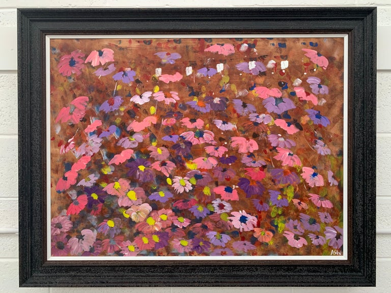 Abstract Pink & Purple Flowers on a Brown Background by British Landscape Artist For Sale 9