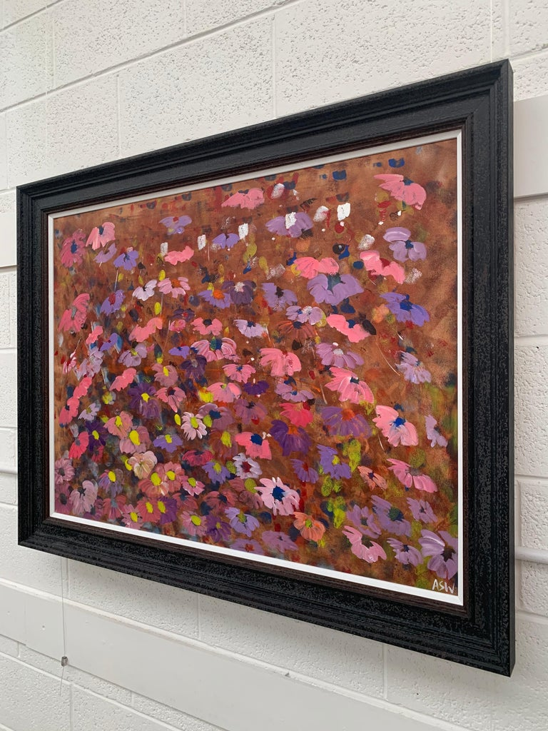 Abstract Pink & Purple Flowers on a Brown Background by British Landscape Artist For Sale 10