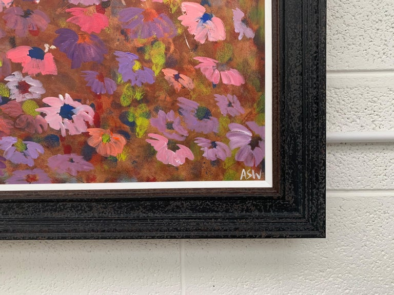 Abstract Pink & Purple Flowers on a Brown Background by British Landscape Artist For Sale 11