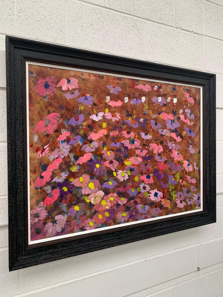 Abstract Pink & Purple Flowers on a Brown Background by British Landscape Artist For Sale 1