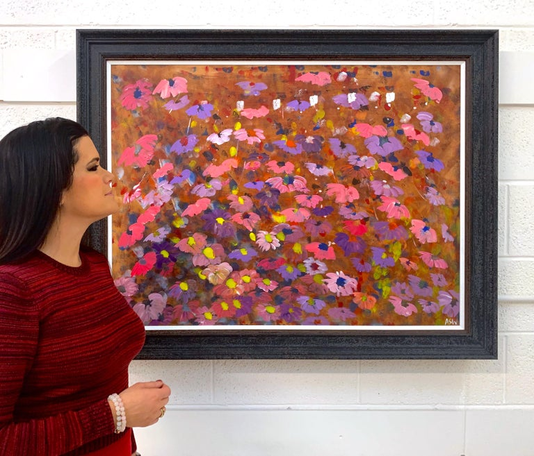 Abstract Pink & Purple Flowers Interior Design by British Contemporary Artist - Brown Abstract Drawing by Angela Wakefield
