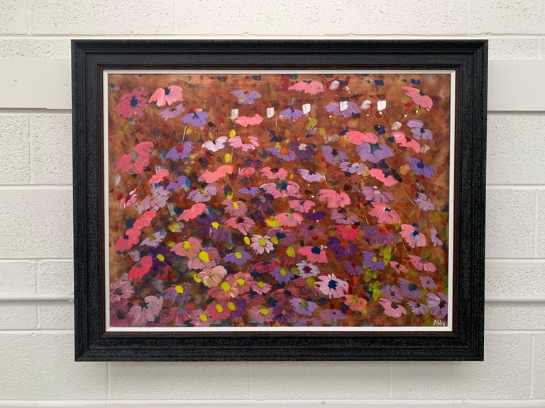 Abstract Pink & Purple Flowers on a Brown Background by British Landscape Artist For Sale 2