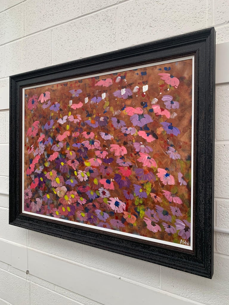 Abstract Pink & Purple Flowers on a Brown Background by British Landscape Artist For Sale 3