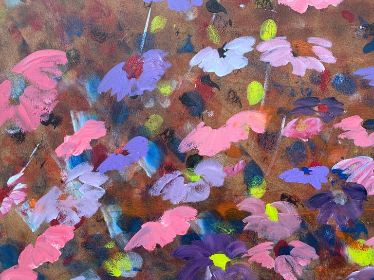 Abstract Pink & Purple Flowers on a Brown Background by British Landscape Artist For Sale 4
