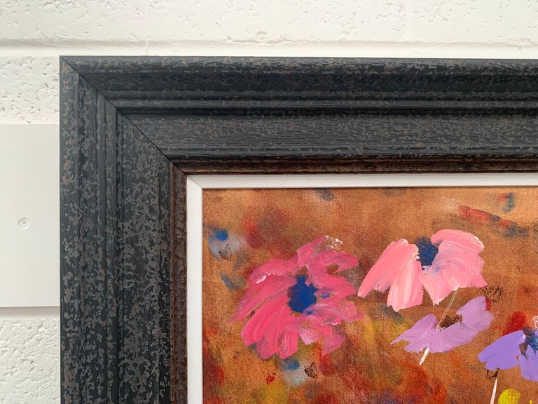 Abstract Pink & Purple Flowers on a Brown Background by British Landscape Artist For Sale 5