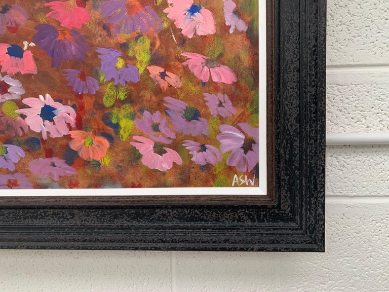 Abstract Pink & Purple Flowers on a Brown Background by British Landscape Artist For Sale 6