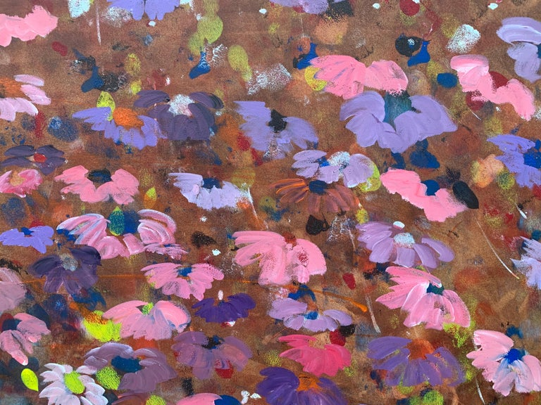 Abstract Pink & Purple Flowers on a Brown Background by British Landscape Artist For Sale 7