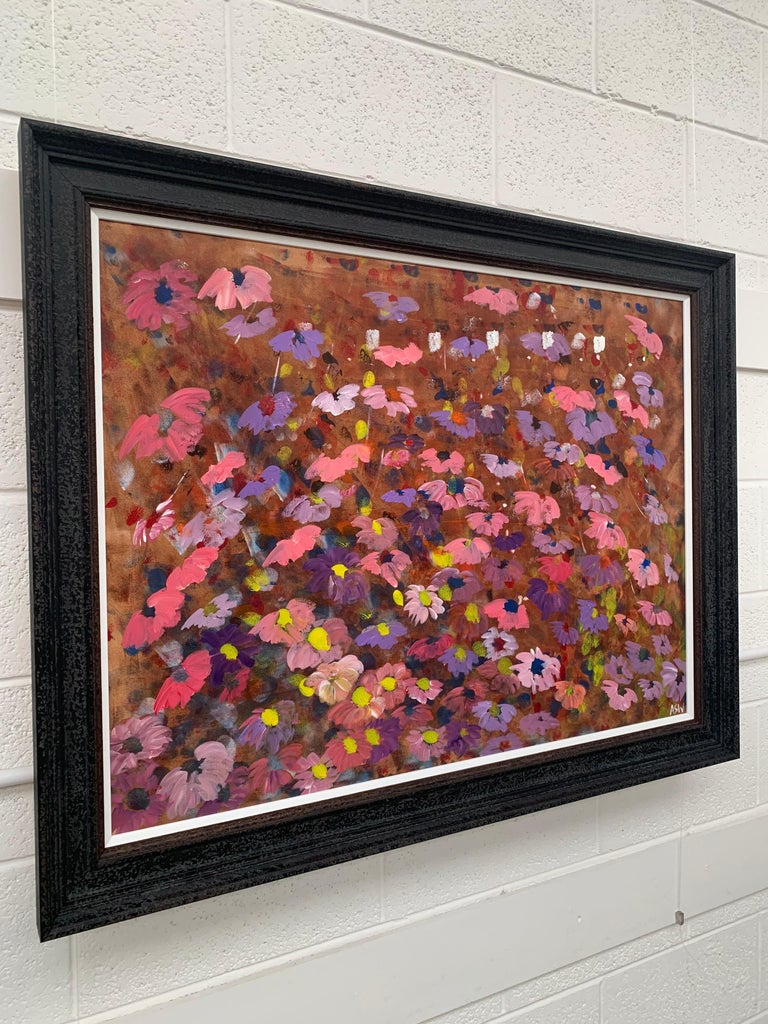 Abstract Pink & Purple Flowers on a Brown Background by British Landscape Artist For Sale 8