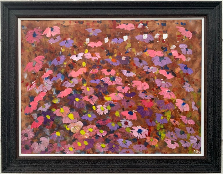 Painting of Abstract Red, Pink, Yellow & White Wild Flowers on a Natural Earthy Brown Background by British Landscape Artist, Angela Wakefield. From the 'Spring Burst' Interior Design Series. Framed in a high quality contemporary off-black wooden