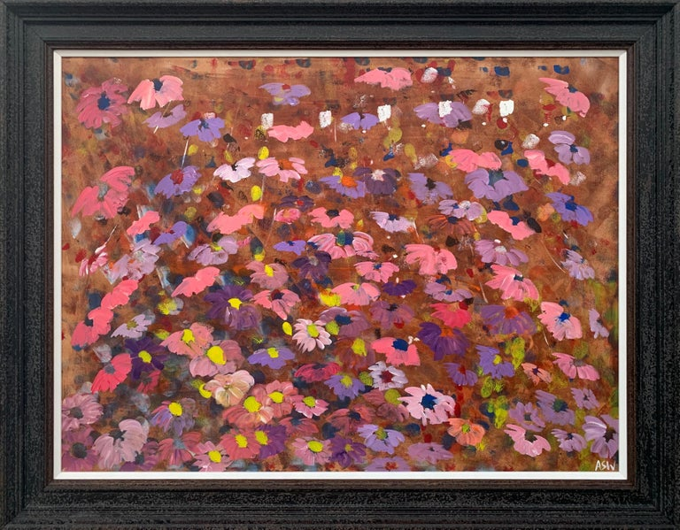 Angela Wakefield Abstract Drawing - Abstract Pink & Purple Flowers on a Brown Background by British Landscape Artist