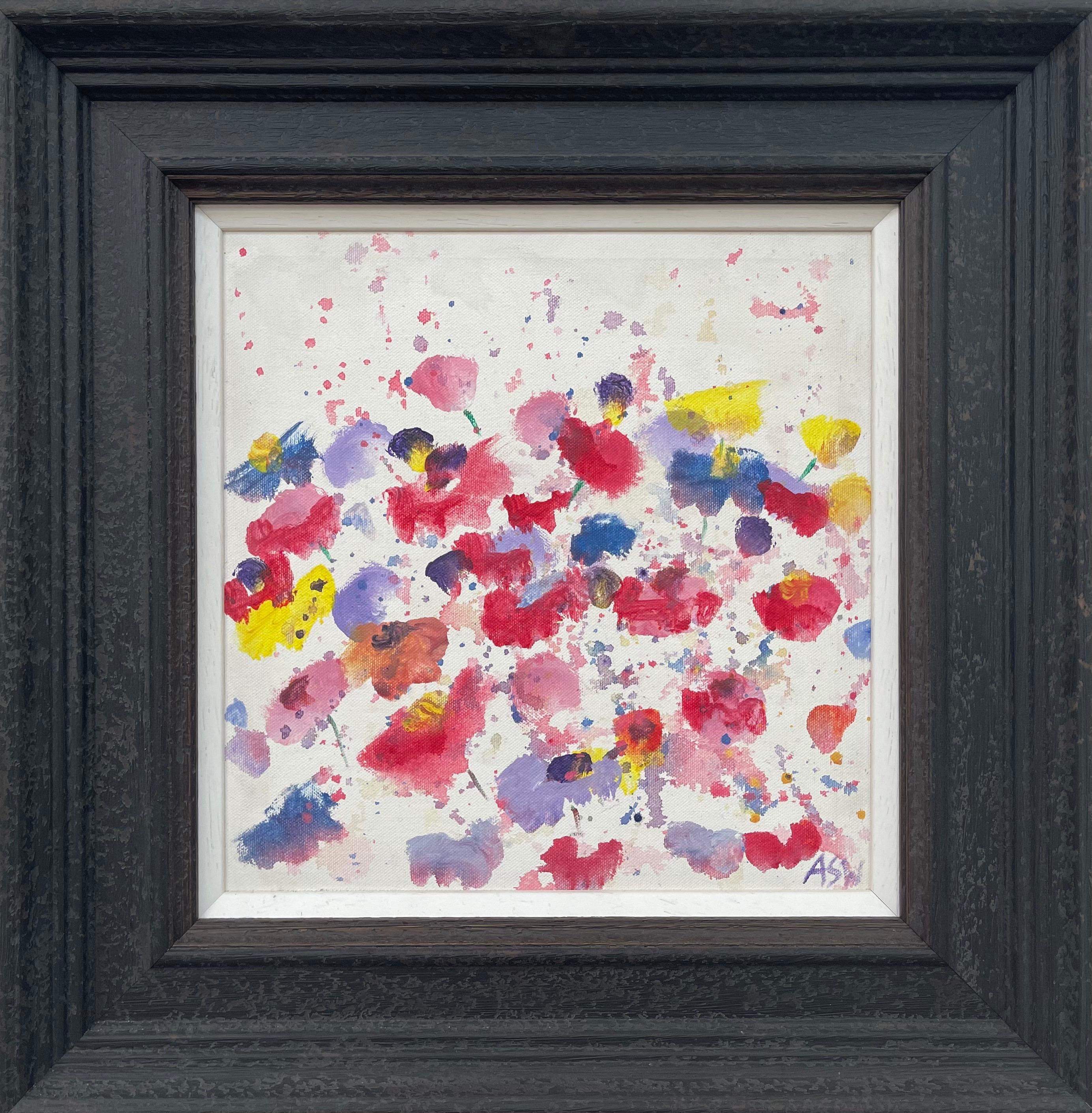 Abstract Red Blue Yellow Flower Design on White by British Contemporary Artist